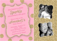 Blush and Gold Glitter Baby Girl Shower Invitations