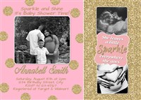 Pink Blush Gold Glitter Baby Shower Invitations Sparkle Shine Couples Photo