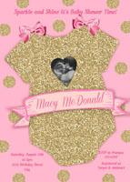 Pink Gold Glitter Onesie Girl Baby Shower Invitations