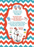 Printable Dr Seuss Baby Shower Invitations with Chevron Print