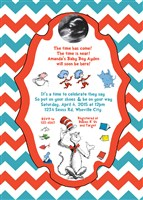 Dr Seuss Baby Shower Invitations with Ultrasound Photo Red Blue Chevron