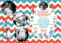 Chevron Print Dr Seuss Baby Shower Invitations with Couples Photos