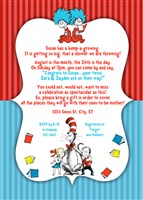 Boy Girl Twins Dr Seuss Baby Shower Invitations Red and Blue
