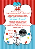 Dr Seuss Baby Shower Invitations for TWINS with Ultrasound Photo