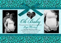 Turquoise Blue Leopard Cheetah Baby Boy Shower Invitations with Photos